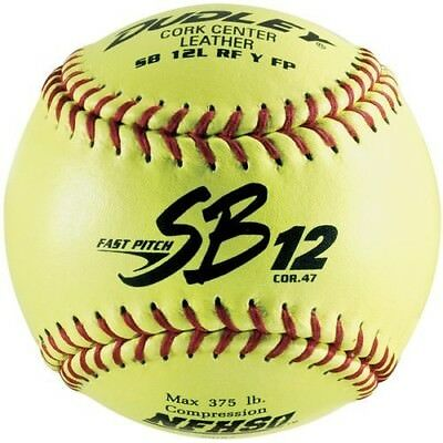 (Yellow) - Dudley NFHS Sb 12L Leather Yellow Fast Pitch Softball (1.9kg 30cm )