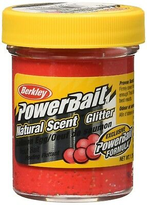 (Salmon Egg, Salmon Egg Red) - PowerBait Natural Glitter Trout Bait. Berkley