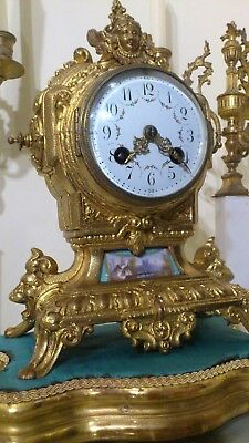 Antique French Gilt Metal & Blue Sevres Mantel Clock.
