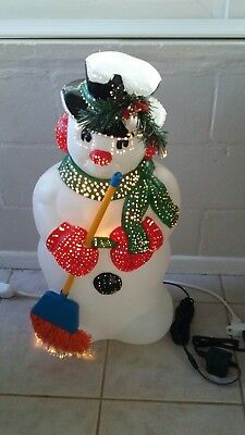 fiber optic blowmold snowman christmas decoration glow 32 blow mold