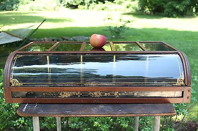 Antique Showcase Curved Glass Counter Country Hardware Store Wood Display Case