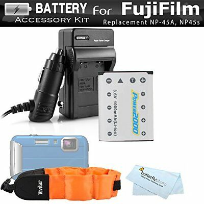 Battery And Charger Kit For Fujifilm FinePix XP70, XP80, XP90, XP120 Waterproof