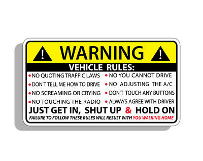 Vehicle Safety Warning Rules Sticker Decal Window Graphic Bumper JDM Car Stance