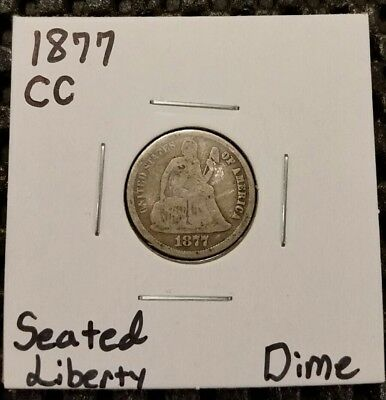1877-CC Seated Liberty Dime! 90% Silver! Beautiful Coin! Carson City!