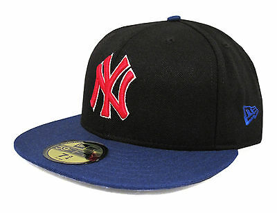New Era 59Fifty Yankees Black & Royal Blue with Red Logo Fitted Cap  Size 7 3/4