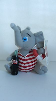 NWT Coca Cola plush collection, gray elephant in swimming suit holding bottle