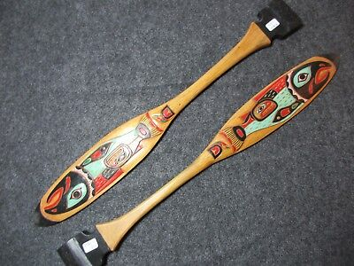 Northwest Coast Ceremonial Oar, Salmon Paddle, Hand Carved & Painted, Wy-01936