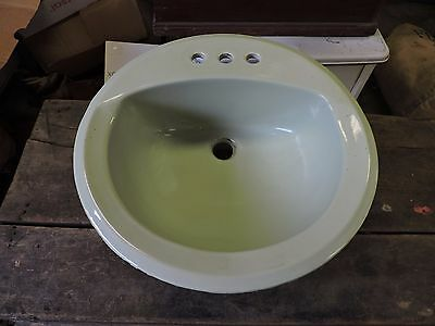 Vintage Used Lite Green In Counter Bathroom Sink, Ceramic/Porcelain (VC)