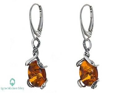 NATURAL BALTIC AMBER STERLING SILVER 925 Earrings Certified & BOX