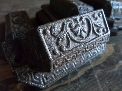 Ornate Cast Iron Drawer Pulls Handles Vintage Style Eastlake Design Cabinet Pull