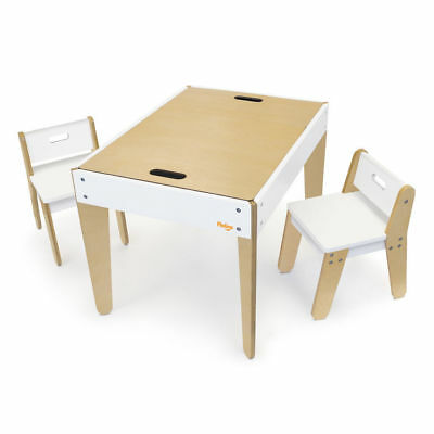 P'kolino Little Modern Tables and Chairs White Kids Chalkboard Art Craft