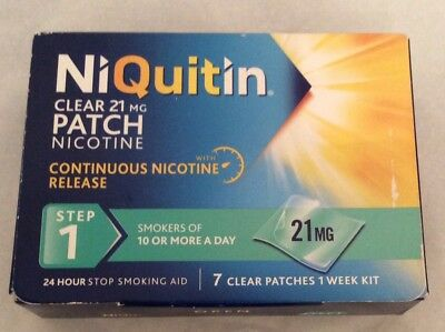 NIQUitin Clear 21mg Patch Nicotine - Step 1 - 7 Clear Patches - 1 Week Kit