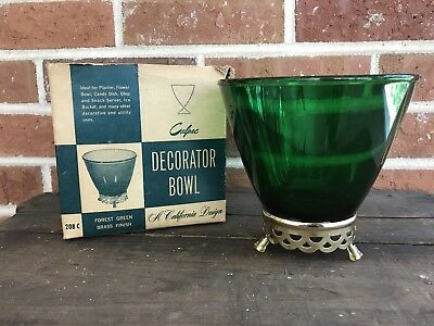 Vintage Green Gold Christmas Bowl Candy Decorative Art Deco w/ Original Box