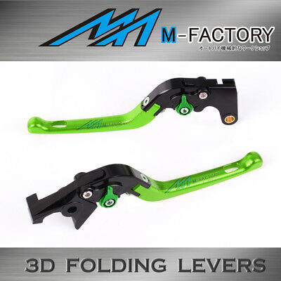 Fit Yamaha TMAX 530 XP500 15 16 Green 3D Folding Front Rear Brake Levers set