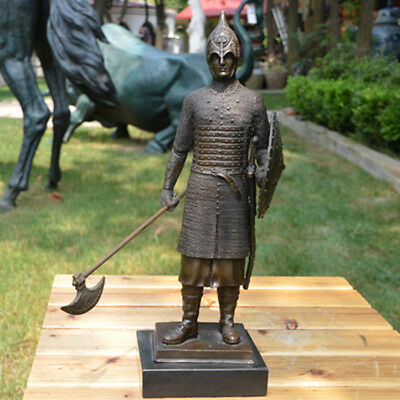 Art Deco handmade Sculpture Europe warrior shield Spear Bronze Copper Statue