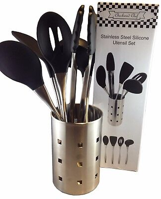 Kitchen COOKING UTENSILS 6 Piece Set- Stainless Steel and Silicone with Holder