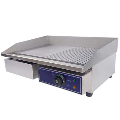 56cm Commercial Electric Griddle Countertop Kitchen Hotplate Stainless Steel 3KW