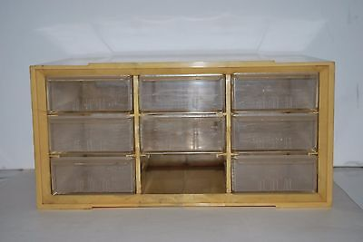 1960's Vintage Plastic Cabinet Drawer With 9 Partitions Stackable Akron Mills