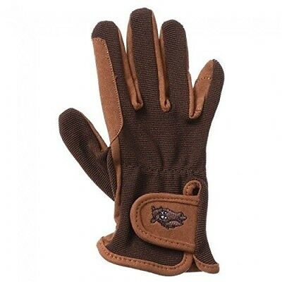 Kids Brown Embroidered Riding Gloves Size Small Horse Tack 24-69. Tough 1
