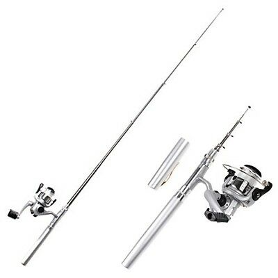 (Silver) - HDE Pocket Size Pen Shaped Collapsible Fishing Rod Pole and