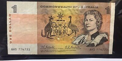 1967 COOMBS/RANDALL $1 Note - general prefix - average condition AHS774733