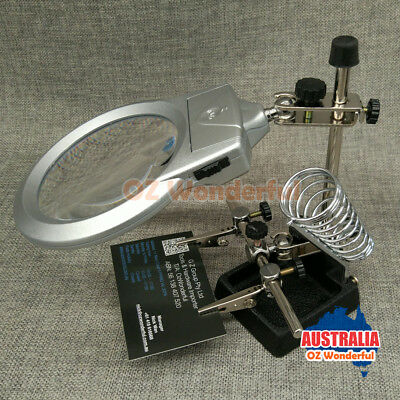 Led Helping Hand Clip Led Magnifying Soldering Iron Stand Magnifier Clamp