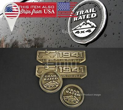 2 x Bronze 75th Trail Rated 4x4 & Willy's 1941 Nameplate Badge for Jeep Wrangler