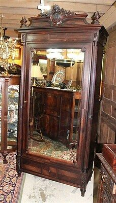 Exquisite French Antique Single Door Rosewood Louis XVI One Door Armoire.