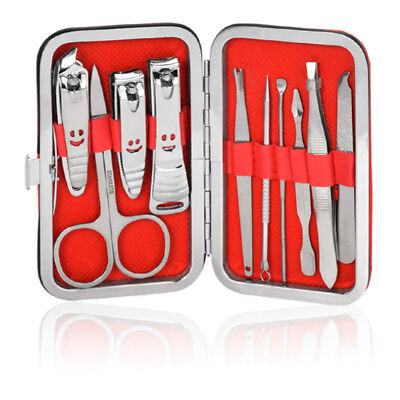 10PCS Pedicure / Manicure Set Nail Clippers Cleaner Cuticle Grooming Kit Case HY