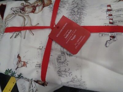 Williams Sonoma Christmas Snowman holiday tablecloth  70 X 108 New w tag