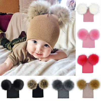 AU STock Kids Baby Boy Girl Pom Hat Winter Warm Crochet Knit Bobble Beanie Cap