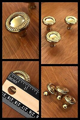3 Knobs Pulls Round Brass Tone Braided Rope Cabinet Drawer Deco Vintage Heavy