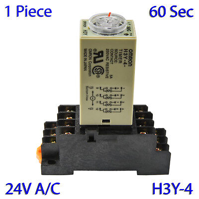 (1 PC) H3Y-4 Omron 24VAC Timer Relay 4P4T 14-Pin 5A (60 Sec) with Socket Base