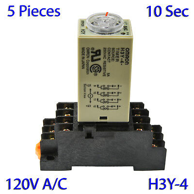 (5 PCs) H3Y-4 Omron 120VAC Timer Relay 4P4T 14-Pin 5A (10 Sec) with Socket Base