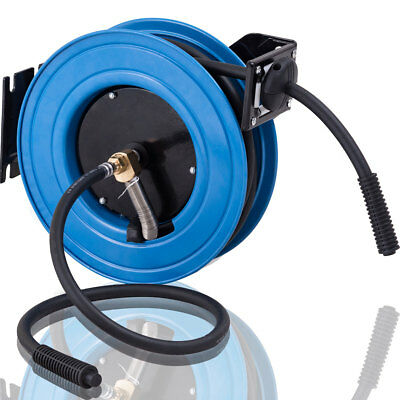 "3/8"" X 25' Retractable Air Compressor Hose Reel 300PSI Auto Rewind Garage Tool"