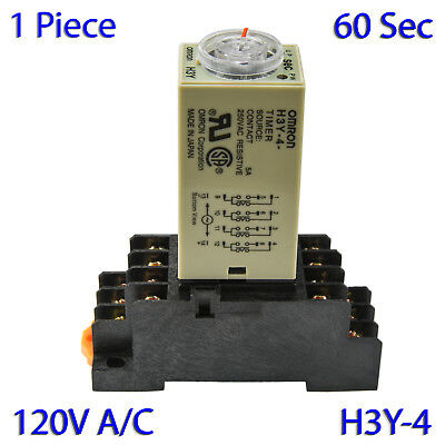 (1 PC) H3Y-4 Omron 120VAC Timer Relay 4P4T 14-Pin 5A (60 Sec) with Socket Base