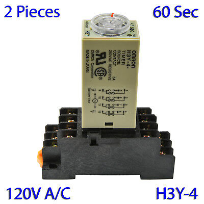 (2 PCs) H3Y-4 Omron 120VAC Timer Relay 4P4T 14-Pin 5A (60 Sec) with Socket Base