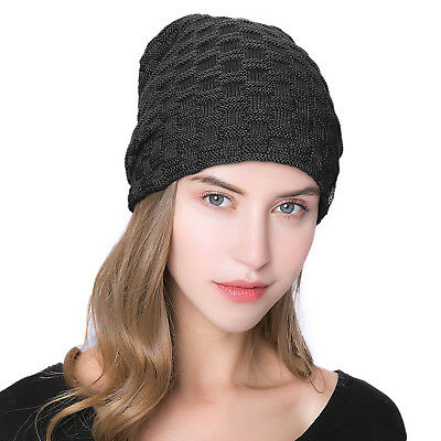 ISASSY Oversize Slouch Lungo Cappello Beanie in Maglia Costine Foderato in Pile