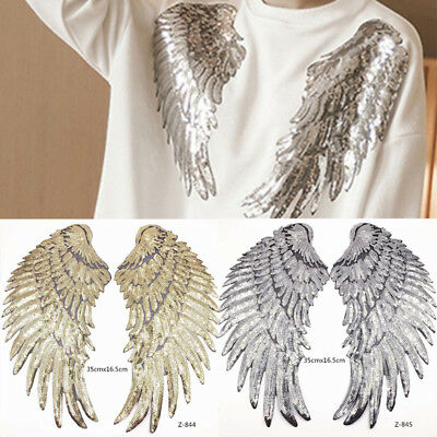 1Pair Decor Embroidered Applique Motif Angel Wings Sequins Iron-On Patch
