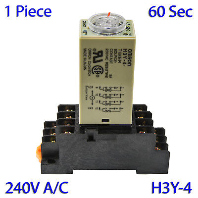 (1 PC) H3Y-4 Omron 240VAC Timer Relay 4P4T 14-Pin 5A (60 Sec) with Socket Base