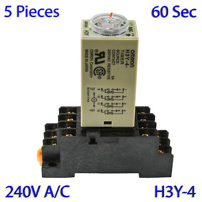 (5 PCs) H3Y-4 Omron 240VAC Timer Relay 4P4T 14-Pin 5A (60 Sec) with Socket Base