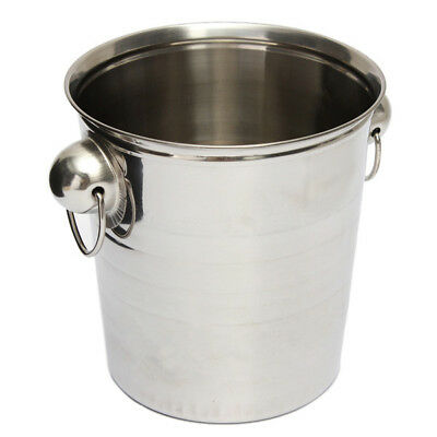 3X(Silver Stainless Steel Ice Punch Bucket Wine Beer Cooler Champagne Party S*