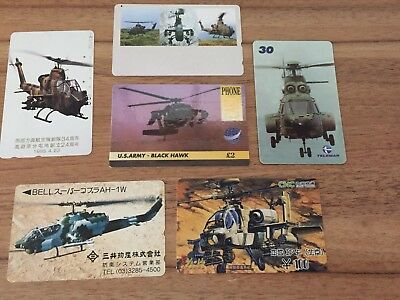 Collectable Phonecards. 6 Military Helicopter Phonecards