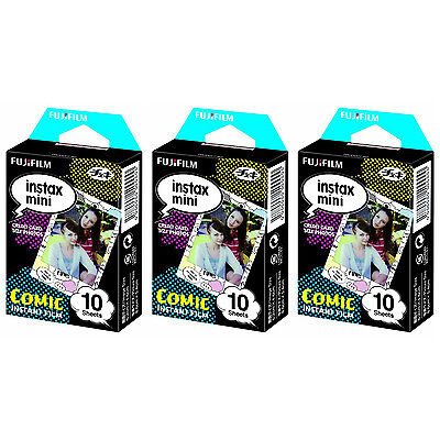 3 Packs 30 Photos Comic FujiFilm Fuji Instax Mini Film Polaroid 7S 8 25 50S SP-1