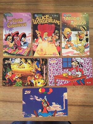 Collectable Phonecards. 6 Disney Phonecards