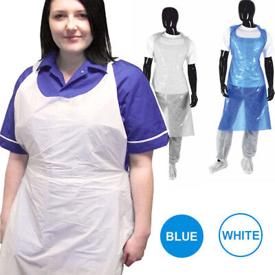 1000 X Blue or White Waterproof Disposable Polythene Plastic Aprons Flat Pack