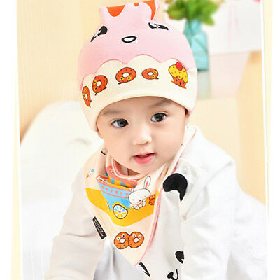 HOT Donuts 2PCS Toddler Baby Hat Cap+Saliva Towel Triangle Head Scarf Sets