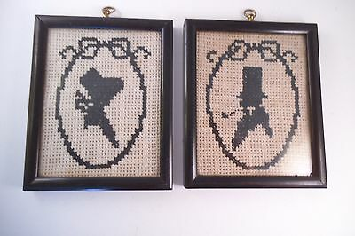 Vintage Pair of Framed Cross Stitch Miniature Silhouettes Colonial Man & Woman