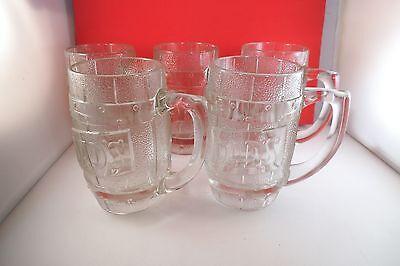 Vintage Dad's Root Beer Set of Five Clear Glass Mugs Cups