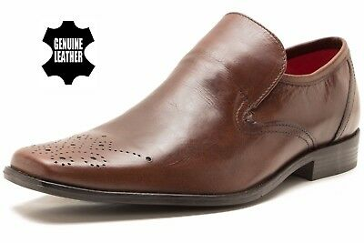 RED TAPE Leather Ribble Men's Brown Slip On Wedding Formal Shoes New Sizes 7-11
